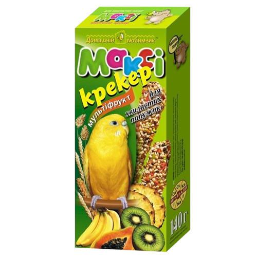 Макси крекер для волнистых попугаев мультифруктовый, бонус+15%.