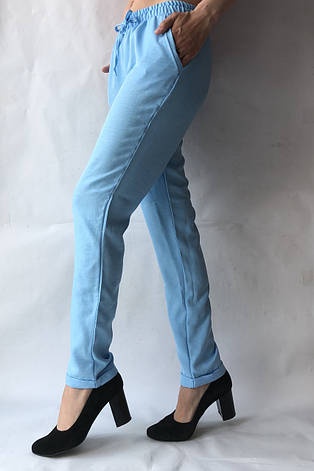 Летние брюки из льна-коттона №14 БАТАЛ голуб., фото 2