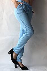 Летние брюки из льна-коттона №14 БАТАЛ голуб.