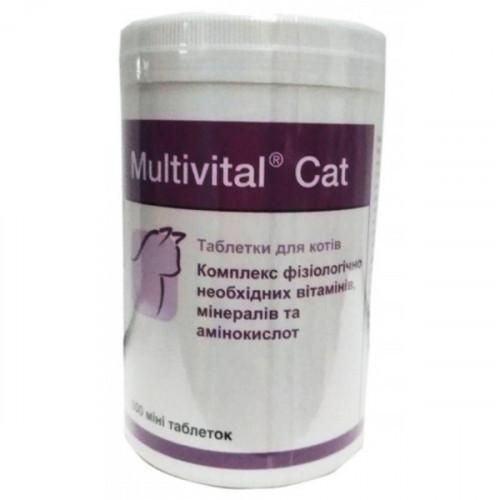 Таблетки Dolfos Multivital Cat для недостатков недостактов минералов, витаминов для кошек, 500 табл