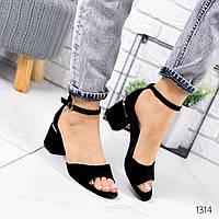 Женские замшевые босоножки на удобном каблуке, ОВЛ 1314, фото 1