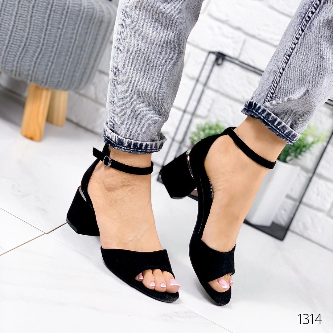 Женские замшевые босоножки на удобном каблуке, ОВЛ 1314