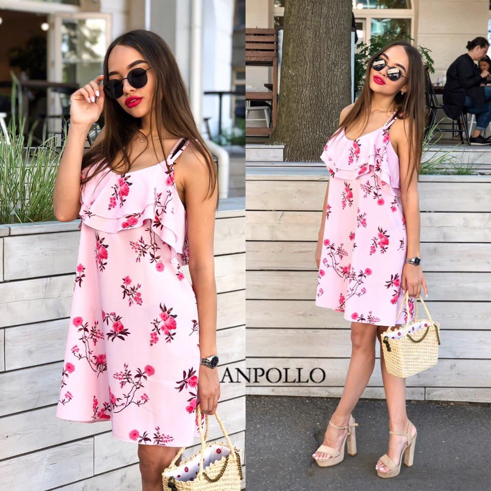 Платье летнее мини розовое на бретельках с оборками сарафан розовый мини на бретельках