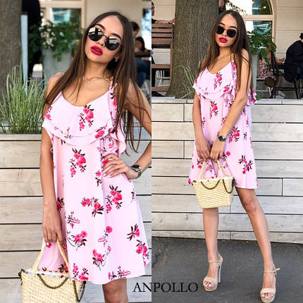Платье летнее мини розовое на бретельках с оборками сарафан розовый мини на бретельках, фото 2