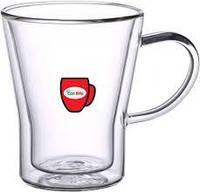 Скляна чашка з подвійними стінками Con Brio СВ-8528, 1 шт, 280мл