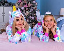 Модная пижама Кигуруми Единорог Звездный  Для взрослых и детей Сиреневого цвета ткань Велсофт