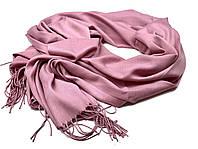 Женский шарф демисезонный длинный натуральный с бахромой розовый, фото 1
