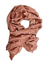 Коралловый женский легкий шарф из хлопка, фото 1