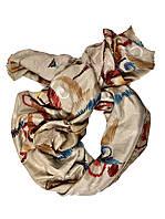 женский объемный шарф из хлопка бежевый принт, фото 1