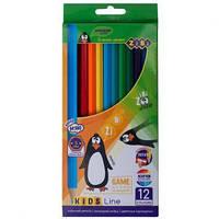 Олівці кольорові 12 кольорів KIDS LINE 2414 ZiBi