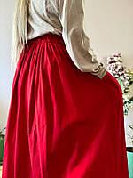 Спідниця льон SC1x6 червоний L