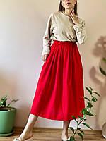 Юбка лен SC1x6 красный L, фото 1