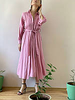 Платье с пуговицами лен пудра DRS3x2  L, фото 1