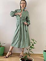 Платье с пуговицами лен оливка DRS3x5  L, фото 1