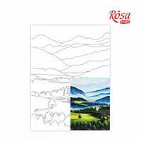 Полотно на картоні з контуром, Пейзаж №30, 30*40, бавовна, акрил, ROSA START