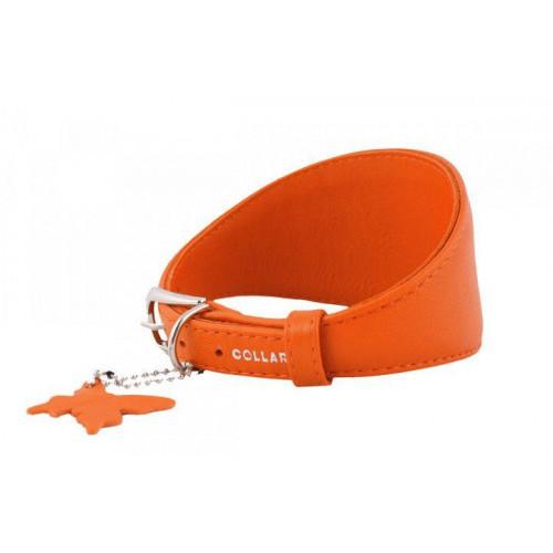 Ошейник Waudog Glamour для борзых, без украшения, ширина 15 мм, длина 23-27 см, оранжевый