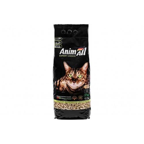 Древесный наполнитель AnimAll для котов, 3 кг