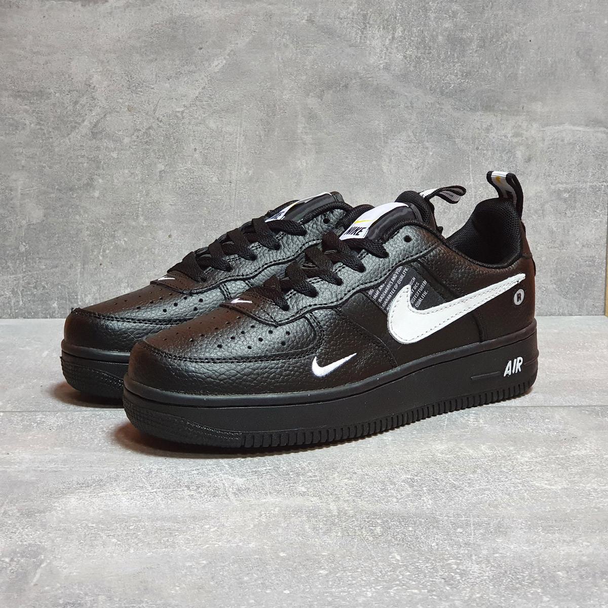 Кроссовки мужские Nike Air Force, черные / Найк форс низкие / чоловічі кросівки (ТОП реплика ААА+)