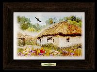 """Картина метал натуральне дерево """"Україна"""" """"Хата з вишневим цвітом"""""""