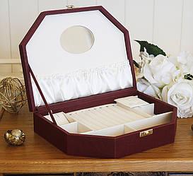 Шкатулка для ювелирных украшений Трапеция бордовая