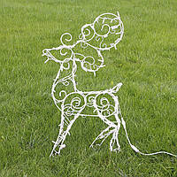 Садовый Олень новогодний (полуобъемный) 90 см, гирлянда LED 100 лампочек
