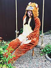 Теплая пижама Кигуруми Лев Для взрослых и детей Оранжевого цвета ткань Велсофт