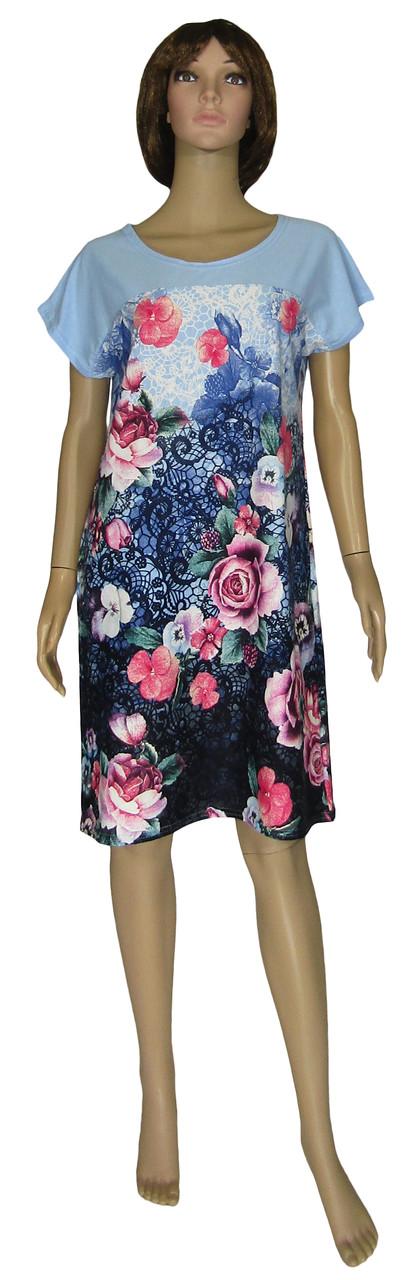Платье женское летнее трикотажное 0077 Damask коттон Сине-голубое с розами