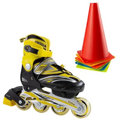 Ролики раздвижные детские, размер S (30-33) роликиковые коньки желтые, фото 2