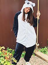 Теплая пижама Кигуруми Панда  Для взрослых и детей Черно - белого цвета Ткань Велсофт