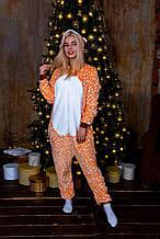 Теплая пижама Кигуруми Олень Для взрослых и детей Оранжевого цвета ткань Велсофт