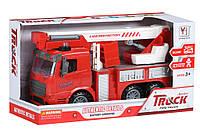 Машинка инерционная Same Toy Truck Пожарная машина с подъемным краном со светом и звуком