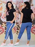 Женский стильный костюм двойка (футболка + джинсы) Батал 48 - 54 рр джинс + вискоза, фото 1