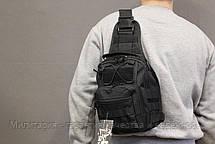 Сумка рюкзак на одно плечо однолямочный рюкзак слинг городской рюкзак  Black (098-black), фото 2