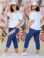 Стильный женский костюм двойка (футболка + джинсы) Батал 48 - 54 рр джинс + вискоза, фото 1
