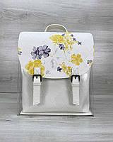 Белый женский рюкзак силиконовый прозрачный молодежный с косметичкой, фото 1