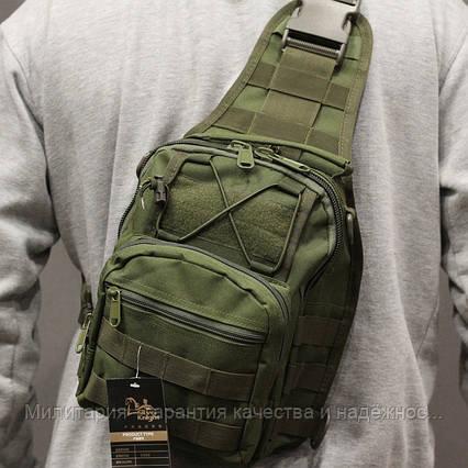 Однолямочный рюкзак сумка слинг на одно плечо 8 л.  Olive (098-olive), фото 2