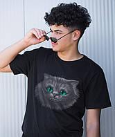 Черная футболка модная мужская молодежная  ЧЕШИРСКИЙ КОТ