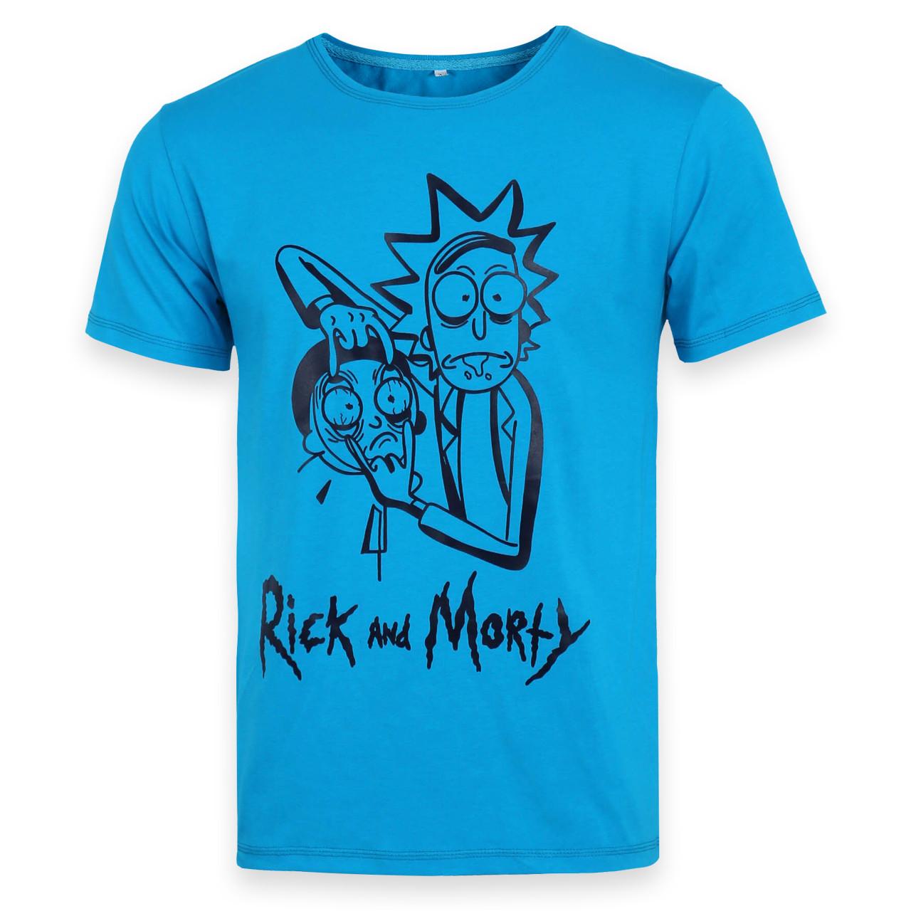 Футболка мужская голубая HOPE с принтом RICK&MORTY Ф-10 GLB L(Р) 20-803-020