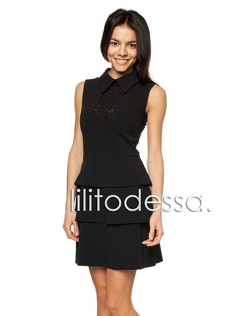Платье с юбкой воланами черный