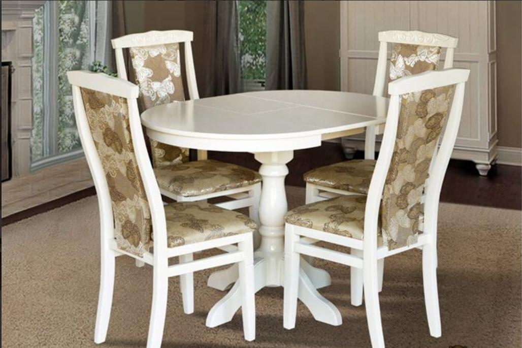 Кухонный комплект -Чумак-2. Стол раздвижной, 4 стула. Цвет -белый, слоновая кость.