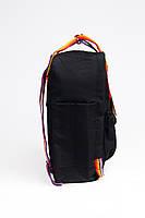 Рюкзак  Fjallraven Kanken Classic Rainbow 16л  Топ качество  черный с радужными ручками, фото 2