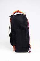 Рюкзак  Fjallraven Kanken Classic Rainbow 16л  Топ качество  черный с радужными ручками, фото 3