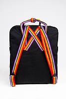 Рюкзак  Fjallraven Kanken Classic Rainbow 16л  Топ качество  черный с радужными ручками, фото 4