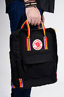 Рюкзак  Fjallraven Kanken Classic Rainbow 16л  Топ качество  черный с радужными ручками, фото 5