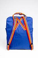 Рюкзак  Fjallraven Kanken Classic Rainbow 16л  Топ качество  ярко-синий с радужными ручками, фото 4