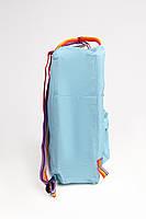 Рюкзак  Fjallraven Kanken Classic Rainbow 16л  Топ качество  голубой с радужными ручками, фото 2