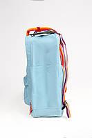 Рюкзак  Fjallraven Kanken Classic Rainbow 16л  Топ качество  голубой с радужными ручками, фото 3