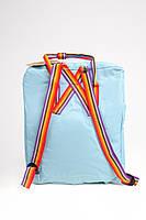 Рюкзак  Fjallraven Kanken Classic Rainbow 16л  Топ качество  голубой с радужными ручками, фото 5