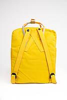 Рюкзак  Fjallraven Kanken Classic Rainbow 16л  Топ качество желтый с полосатыми ручками, фото 4