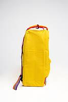 Рюкзак  Fjallraven Kanken Classic Rainbow 16л  Топ качество  желтый с радужными ручками ( тканевая подкладка), фото 2